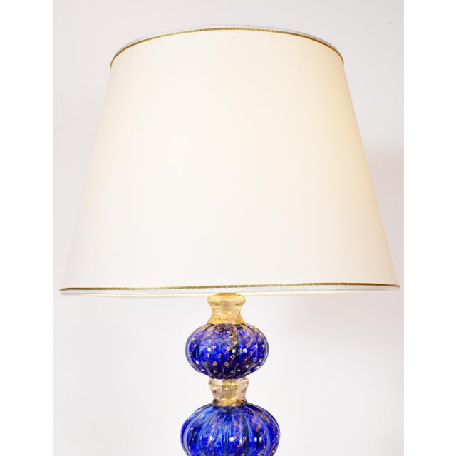Blown Glass Cobalt Blue With Gold Flecks Murano Glass Table Lamps - a Pair For Sale - Image 7 of 10