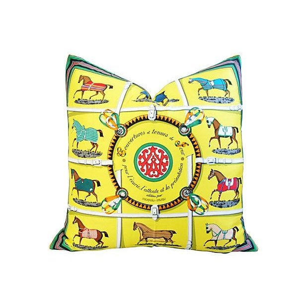 "Hermes ""Jacques Eudel"" Equestrian Silk Pillow - Image 1 of 6"