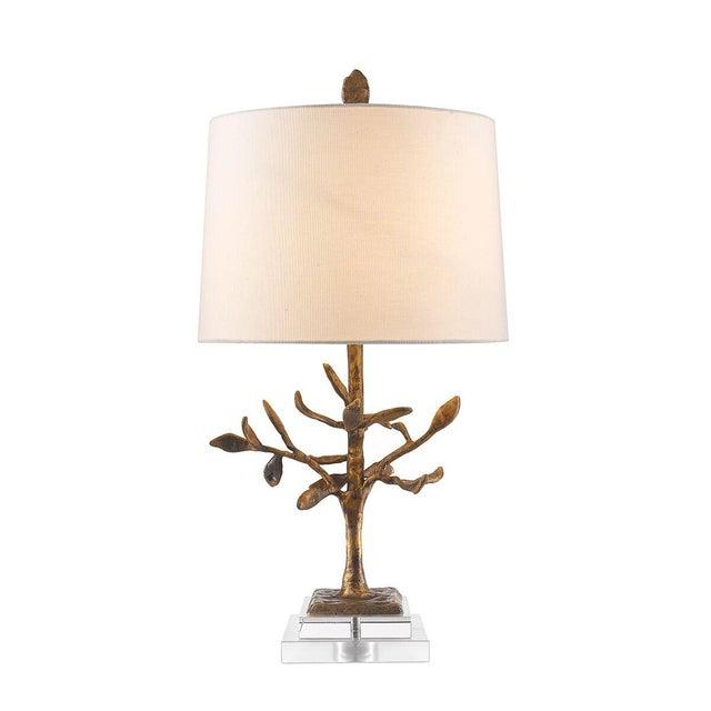 2010s Audubon Park Nature Form Gold Plaster Table Lamp For Sale - Image 5 of 8