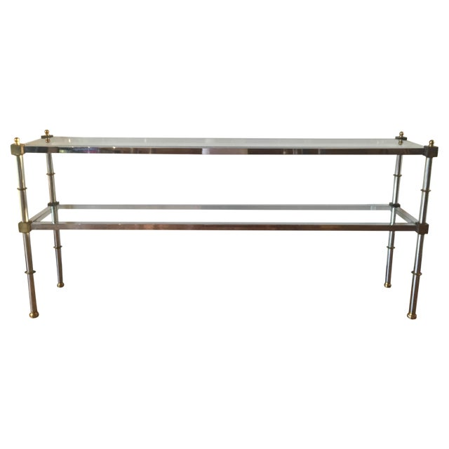 Chrome, Brass & Glass Console Table, 1970s - Image 1 of 6