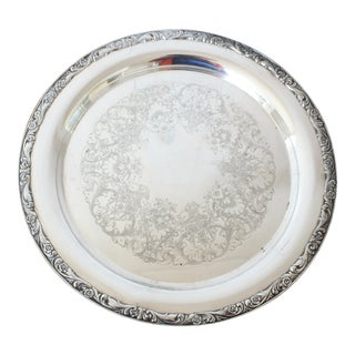 Large Round Silver Tray For Sale