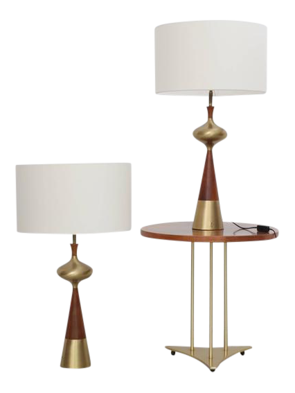Set Of Two Table Lamps In Walnut And Brass By Tony Paul For Westwood, 1950s
