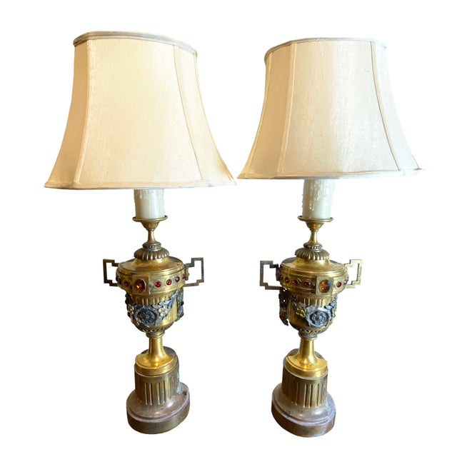 Gilt Metal Urns With Jewels and Swags Table Lamps - a Pair For Sale - Image 11 of 11