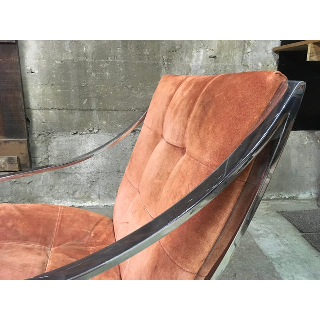 Silver Bert England Brueton Steel Frame Cantilevered Lounge Chairs- a Pair For Sale - Image 8 of 11