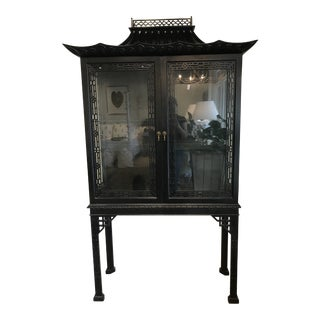 1970s Chippendale Black Painted Cabinet For Sale