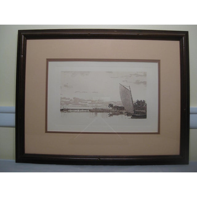Nautical Ancient Chinese Sailing Ship Print For Sale - Image 3 of 3