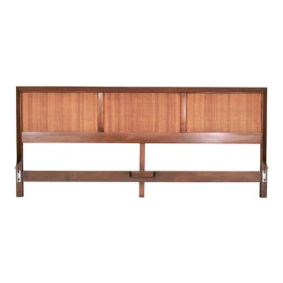 American of Martinsville Accord Walnut & Cane King Headboard by Merton Gershun For Sale