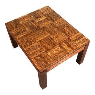 Mid-Century Danish Modern End Table / Nightstand With Parquet Top For Sale
