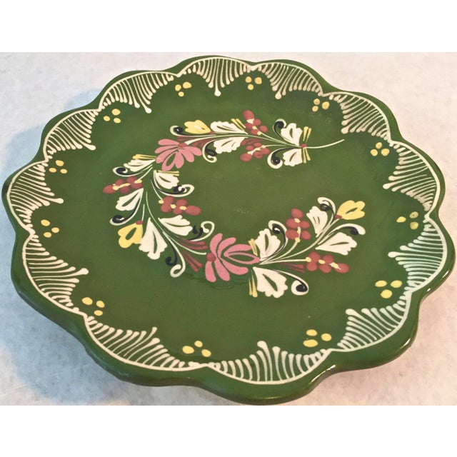 Vintage Hand Painted Decorative Hanging Plate For Sale - Image 4 of 6