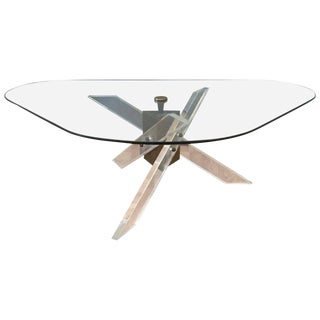 Architectural Lucite and Patinated Brass Tripod Base Coffee Table For Sale