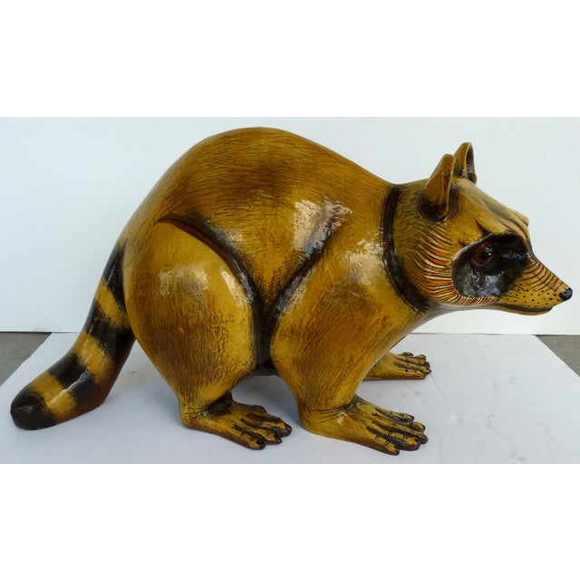 Papier Mache Raccoon Sculpture by Sergio Bustamante For Sale - Image 9 of 9