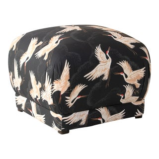 Square Ottoman in Crane Flock Ink Oga For Sale