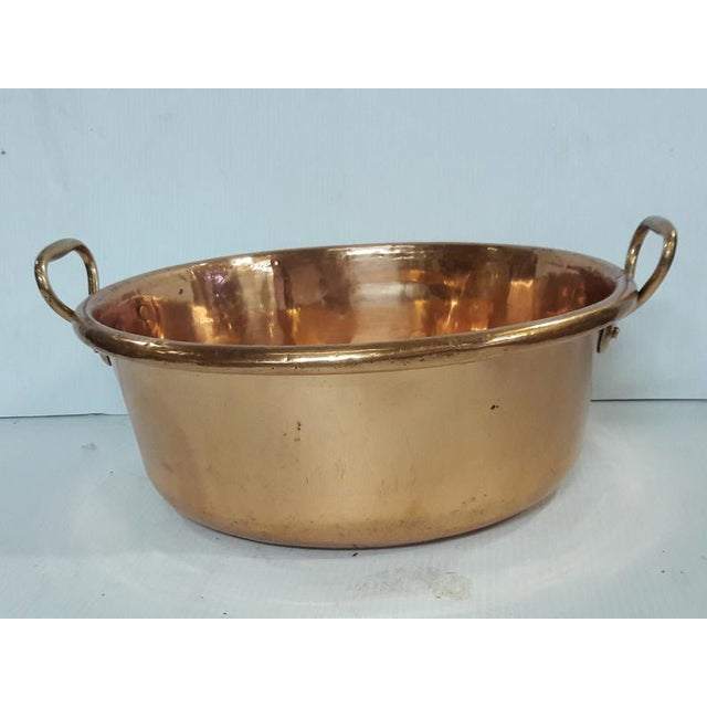 1900 - 1909 Antique French Copper Basin Confisier French Country Kitchen Large Copper Basin For Sale - Image 5 of 6