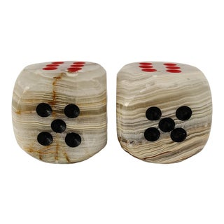 Vintage Onyx Dices Paperweights - a Pair For Sale