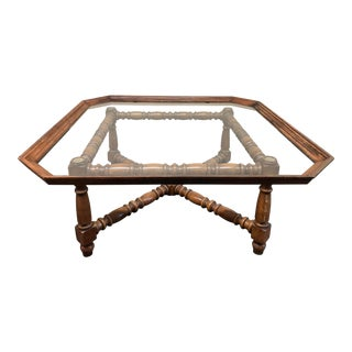 Kindel Furniture Vintage Glass & Turned Wood Coffee Table For Sale