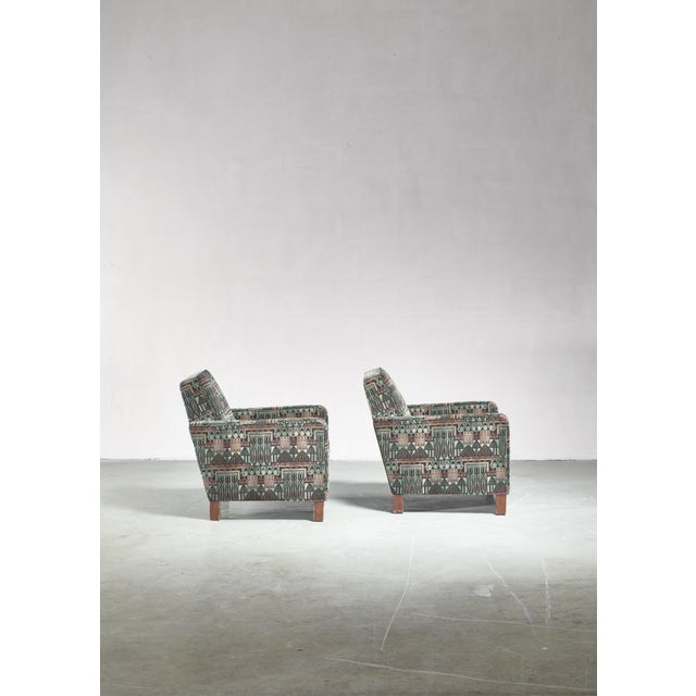 Björn Trägårdh Pair of Club Chairs With Original Art Nouveau Upholstery, 1930s For Sale - Image 6 of 8