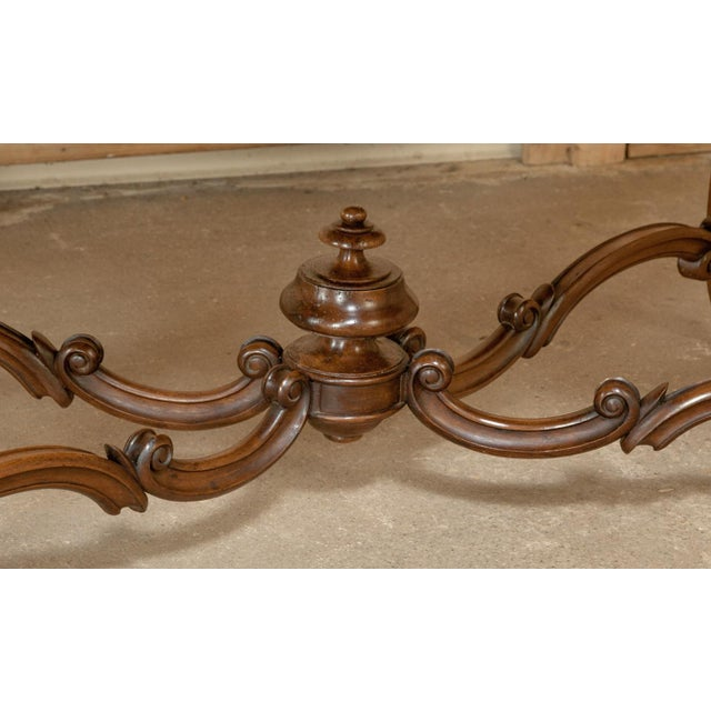 Red 19th Century French Louis XV Rouge Marble Top Walnut Library Table For Sale - Image 8 of 10