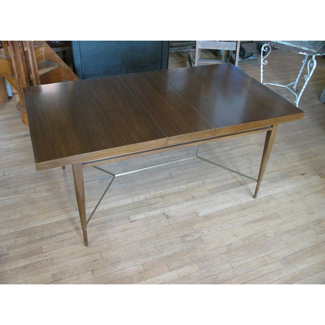Gold 1950s Mahogany & Brass Extension Dining Table by Paul McCobb For Sale - Image 8 of 9