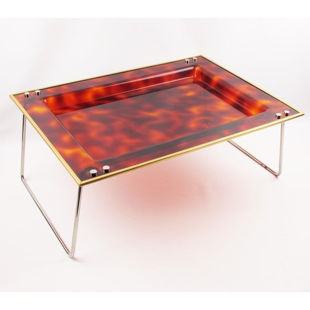 Mid-Century Italian Tortoise Lucite Barware Folding Serving Tray For Sale - Image 11 of 11