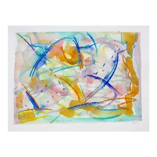 """""""Celebration"""" Contemporary Abstract Watercolor and Pastel Painting by Martha Holden For Sale"""