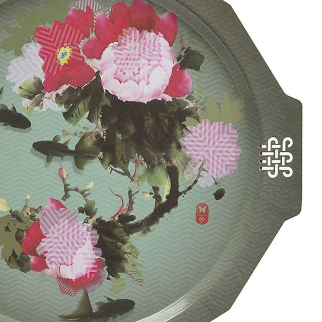 Pivoine (Peony) Serving Tray From Ibride Made from high pressure laminate, this dreamy mural of peonies and coy is just as...