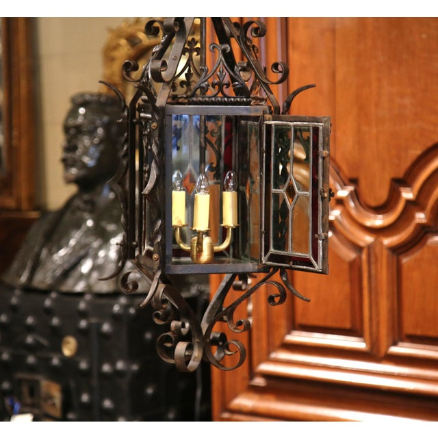 Black 19th Century French Napoleon III Black Iron Lantern With Stained Glass Panels For Sale - Image 8 of 9