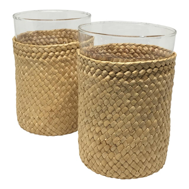 1980s Rattan-Cased Glasses - A Pair - Image 1 of 6