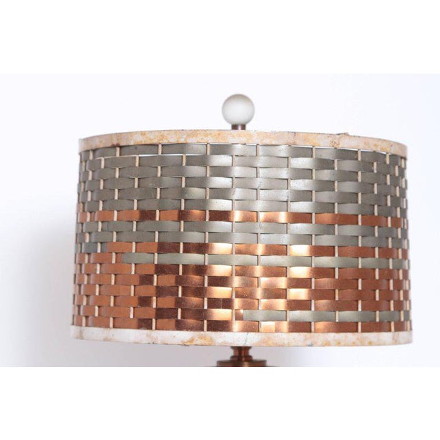 Brass Machine Age Art Deco Sandel Table Lamp, Mixed Metal, Lacquered Wood For Sale - Image 7 of 11