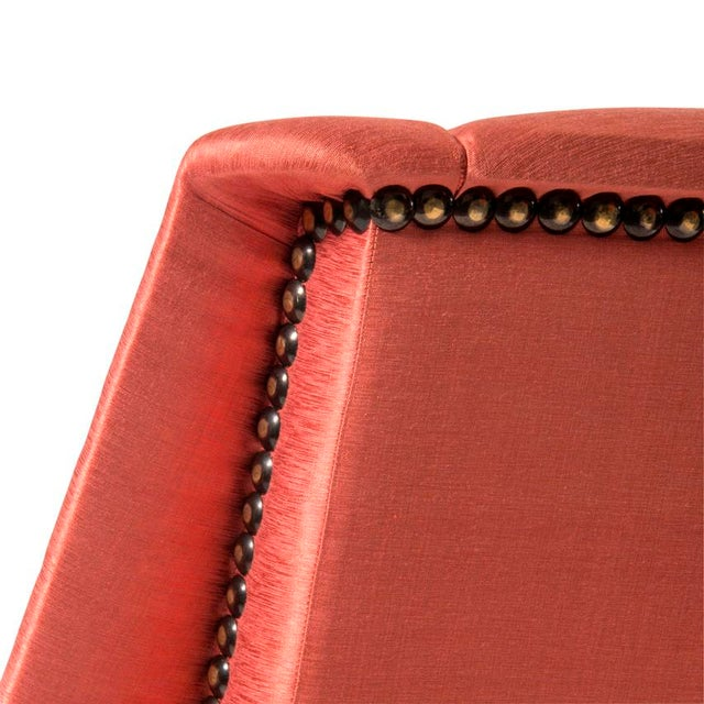 2010s Orange Silk Upholstered Armchair For Sale - Image 5 of 13
