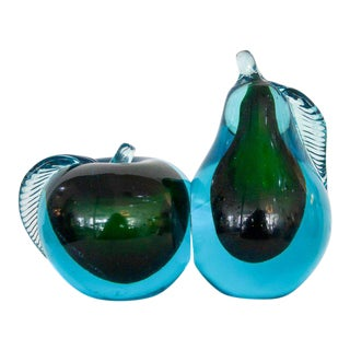 1960s Murano Glass Mid-Century Modern Pear & Apple Bookends - a Pair For Sale