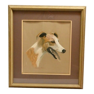 1970s Greyhound Dog Portrait Pastel Drawing, Framed For Sale