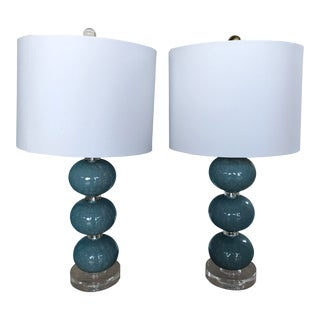 Aegean Blue Lamps With Crackle Finish - a Pair For Sale