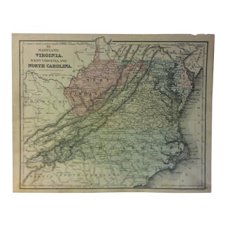 "Antique Mitchell's Modern Atlas Map ""Virginia - West Virginia and North Carolina"" - 1880 For Sale"
