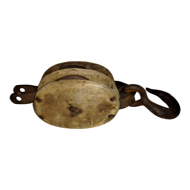 Antique Double Pulley Block and Tackle For Sale