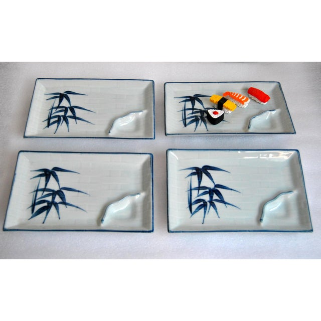 Arts & Crafts Blue & White Celadon Yakizara Japanese Divided Plates - Set of 4 For Sale - Image 3 of 8