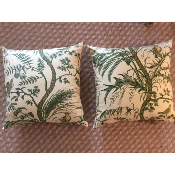 Brunschwig & Fils Bird and Thistle Green Pillow Covers - a Pair - Image 2 of 7
