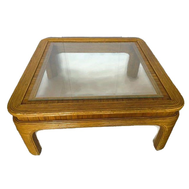 Vintage Split Reed Bamboo Coffee Table - Image 1 of 8