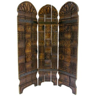 Witco Tiki Carved Wood Three-Panel Screen or Room Divider, Circa 1960s For Sale