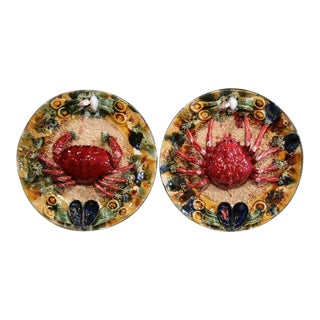 Pair of Mid-20th Century French Barbotine Wall Platters With Crabs From Brittany For Sale
