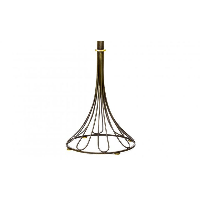 Art Deco Gilbert Poillerat Documented Wrought Iron and Gold Leaf Floor Lamp For Sale - Image 3 of 6