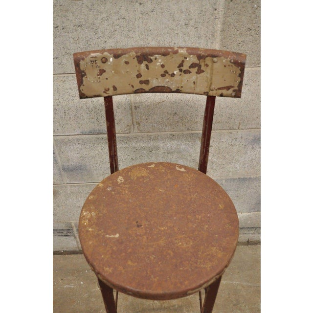 Industrial Antique Steel Metal Industrial Drafting Architect Work Stool For Sale - Image 3 of 12
