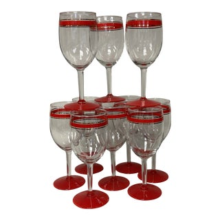 Red & Gold Stripe Holiday Water Wine Goblets Set of 10 For Sale