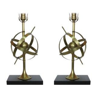 Brass Celestial Armillary Globe Study Table Lamp, Pair For Sale