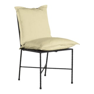 Summer Classics Italia Side Chair in Pinstripe Mustard For Sale