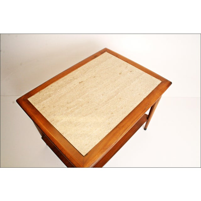Danish Modern Wood Stone Top End Tables - Pair - Image 6 of 11
