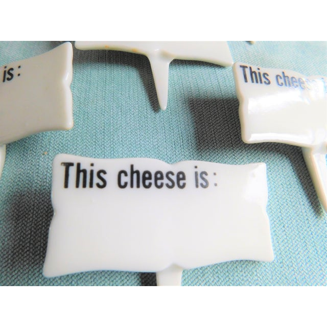 Contemporary Mid-Century Porcelain Cheese Markers - Set of Six For Sale - Image 3 of 9