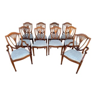 Hepplewhite Style Dining Chairs- Set of 10 For Sale