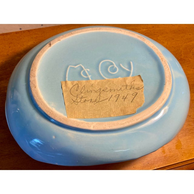 1940s Sky Blue Ceramic Bowl With Pink Bird Figure Planter For Sale In Saint Louis - Image 6 of 7