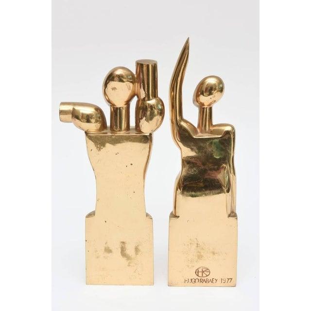 "Bronze Modernist Bronze Signed ""Man & Woman"" Cubist Sculptures For Sale - Image 8 of 10"