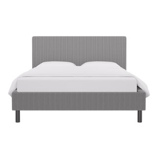 Queen Tailored Platform Bed in Black Ticking Stripe For Sale